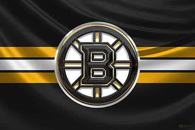 Digital Art - Boston Bruins - 3 D Badge Over Silk Flag by Serge Averbukh
