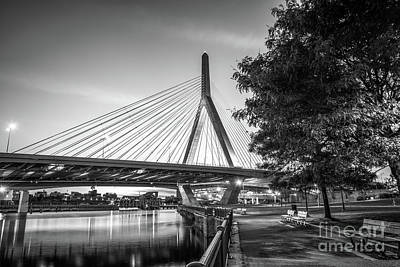 Charles River Photograph - Boston Bunker Hill Bridge At Night Black And White Picture by Paul Velgos