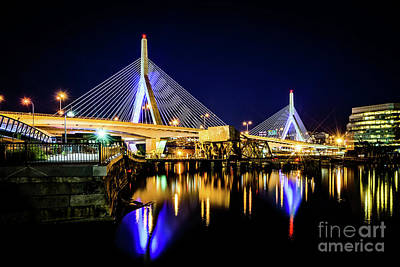 Boston Bunker Hill Zakim Bridge At Night Photo Art Print by Paul Velgos