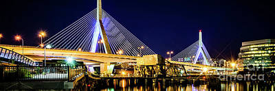 Boston Bunker Hill Zakim Bridge Panorama Photo Art Print by Paul Velgos