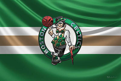 Boston Celtics - 3 D Badge Over Flag Art Print by Serge Averbukh