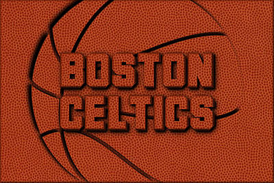 Boston Celtics Leather Art Art Print by Joe Hamilton