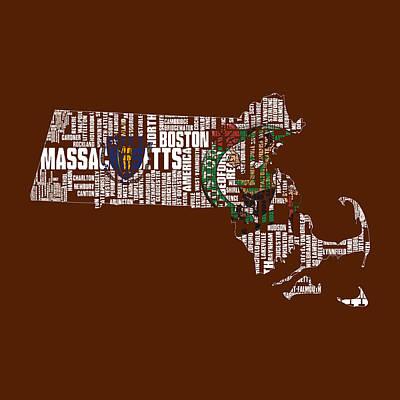 Boston Celtics Typographic Map 1 Art Print by Brian Reaves