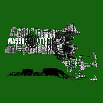 Harvard Mixed Media - Boston Celtics Typographic Map 3c  by Brian Reaves