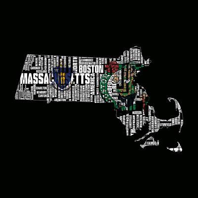 Mayflower Mixed Media - Boston Celtics Typographic Map by Brian Reaves