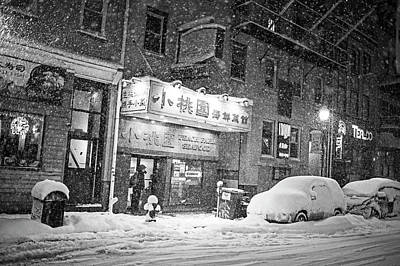 Photograph - Boston Chinatown Snowstorm Tyler St Black And White by Toby McGuire