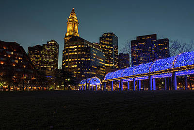 Boston Christopher Columbus Park Trellis Lit Up For Christmas Boston Ma Print by Toby McGuire