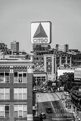 Signed Photograph - Boston Citgo Sign Black And White Photo by Paul Velgos