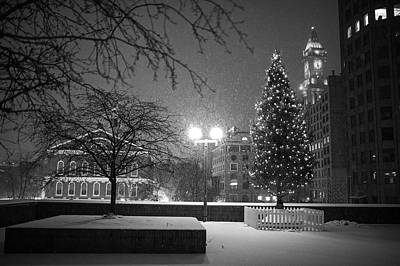 Photograph - Boston City Hall Christmas Tree Snow Storm Boston Ma Black And White by Toby McGuire