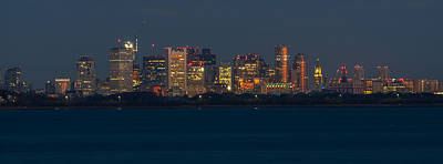 Photograph - Boston City Lights Panorama 2 by Brian MacLean