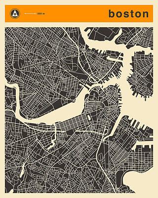 Boston Map Art Print by Jazzberry Blue