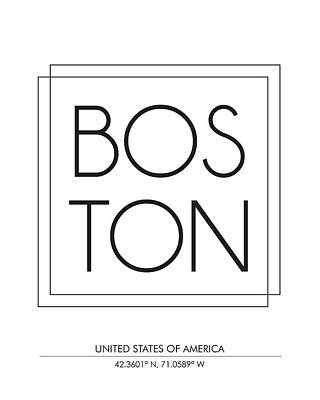 Print Mixed Media - Boston City Print With Coordinates by Studio Grafiikka