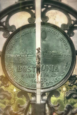 Photograph - Boston City Seal - Boston Public Garden by Joann Vitali
