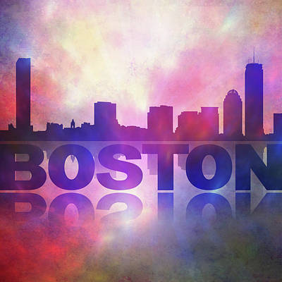 Digital Art - Boston City Skyline by Lilia D