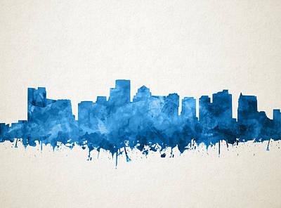 Boston Skyline Painting - Boston City Skyline Watercolor 11 by Bekim Art