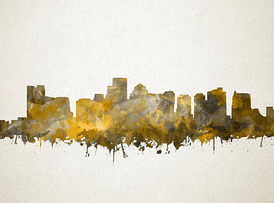 Painting - Boston City Skyline Watercolor 12 by Bekim Art