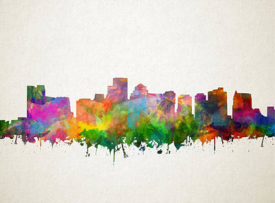 Painting - Boston City Skyline Watercolor 13 by Bekim Art