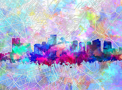 Painting - Boston City Skyline Watercolor 14 by Bekim Art