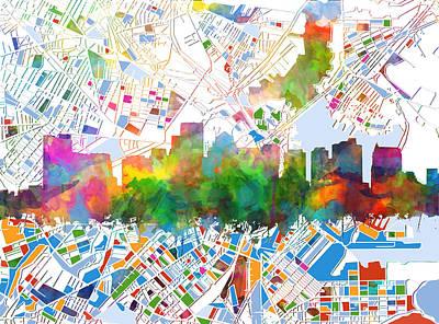 Digital Watercolor Painting - Boston City Skyline Watercolor 15 by Bekim Art