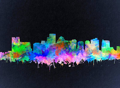 Boston Painting - Boston City Skyline Watercolor 16 by Bekim Art