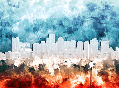 Blue And Red Painting - Boston City Skyline Watercolor 2 by Bekim Art