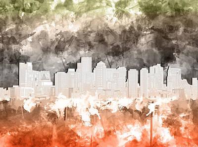 Painting - Boston City Skyline Watercolor 3 by Bekim Art