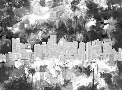 Boston Painting - Boston City Skyline Watercolor 4 by Bekim Art