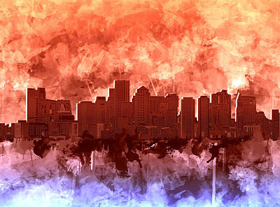 Painting - Boston City Skyline Watercolor 5 by Bekim Art