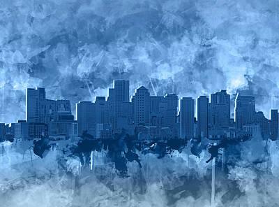 Painting - Boston City Skyline Watercolor 6 by Bekim Art