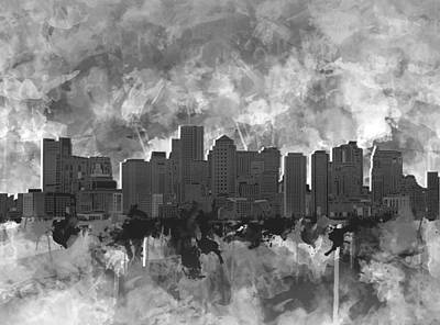 Painting - Boston City Skyline Watercolor 7 by Bekim Art