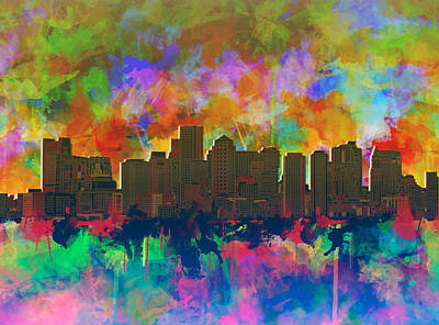 Vibrant Color Painting - Boston City Skyline Watercolor 8 by Bekim Art