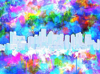 Vibrant Color Painting - Boston City Skyline Watercolor 9 by Bekim Art