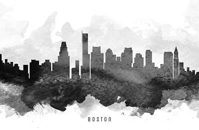 Boston Skyline Painting - Boston Cityscape 11 by Aged Pixel