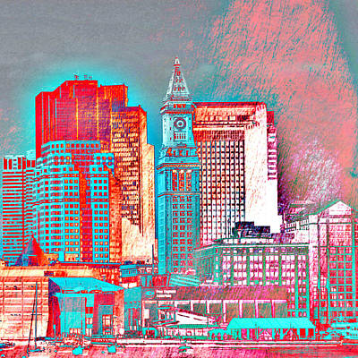 Green Beans Mixed Media - Boston Clock Tower V2 by Brandi Fitzgerald