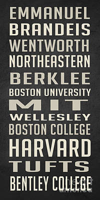 Massachusetts Drawing - Boston Colleges Poster by Edward Fielding