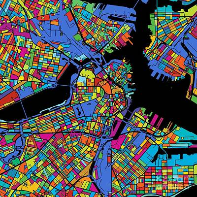 Boston Colorful Map Original