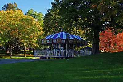 Photograph - Boston Common Carousel Boston Ma Autumn Trees by Toby McGuire