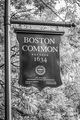 Boston Common Sign Black And White Photo Art Print by Paul Velgos