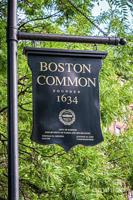 Boston Common Sign Photo Art Print by Paul Velgos