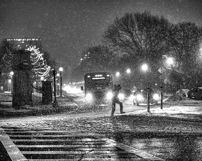 Crosswalk Photograph - Boston Common Snowstorm Ma Black And White by Toby McGuire