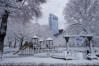Photograph - Boston Common Tadpole Playground Covered In Snow Boston Ma by Toby McGuire