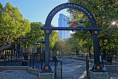 Photograph - Boston Common Tadpole Playground Halloween Millenium Tower by Toby McGuire