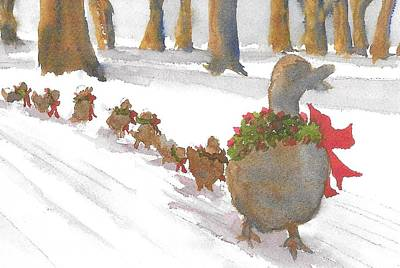 Painting - Boston Ducks On Holiday  by Roseann Meserve