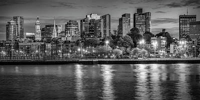 Boston Evening Skyline  - Monochrome Panorama Art Print
