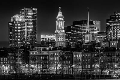 Boston Evening Skyline Of North End And Financial District - Monochrome Art Print by Melanie Viola