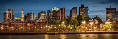 Boston Evening Skyline Of North End And Financial District - Panoramic Art Print