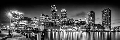 Night Scenes Photograph - Boston Fan Pier Park And Skyline In The Evening - Monochrome Panoramic by Melanie Viola