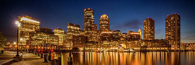 Night Scenes Photograph - Boston Fan Pier Park And Skyline In The Evening - Panoramic by Melanie Viola