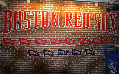 Photograph - Boston Fenway Park Championship Mural by Juergen Roth