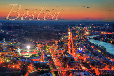 Photograph - Boston Fenway Park Charles River Sunset Aerial View  by Joann Vitali